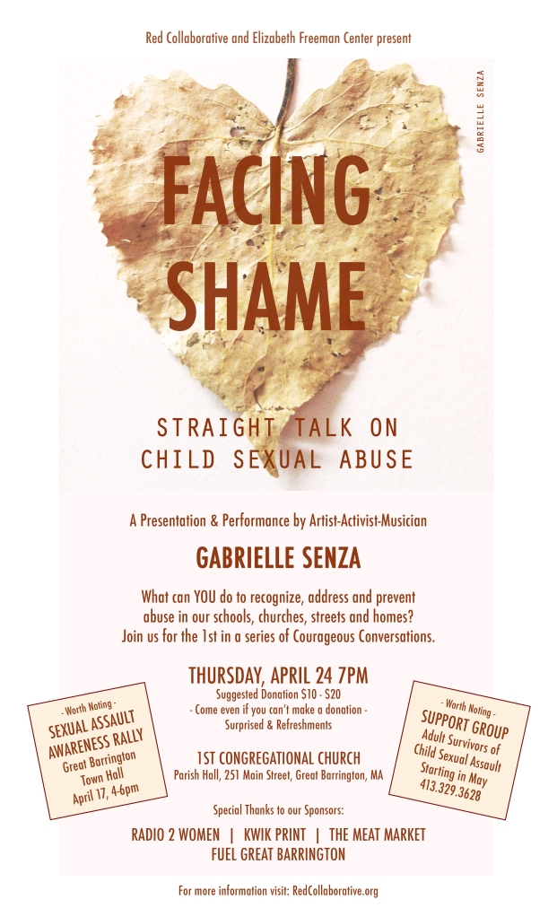 Facing Shame, Gabrielle Senza, Red Collaborative, Elizabeth Freeman Center, 1st Congregational Church, Child Sexual Abuse, SAAM