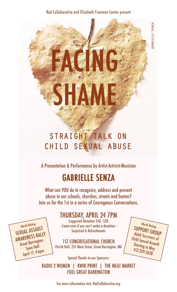 Facing Shame, Gabrielle Senza, Red Collaborative, Elizabeth Freeman Center, 1st Congregational Church, Child Sexual Abuse, SAAM